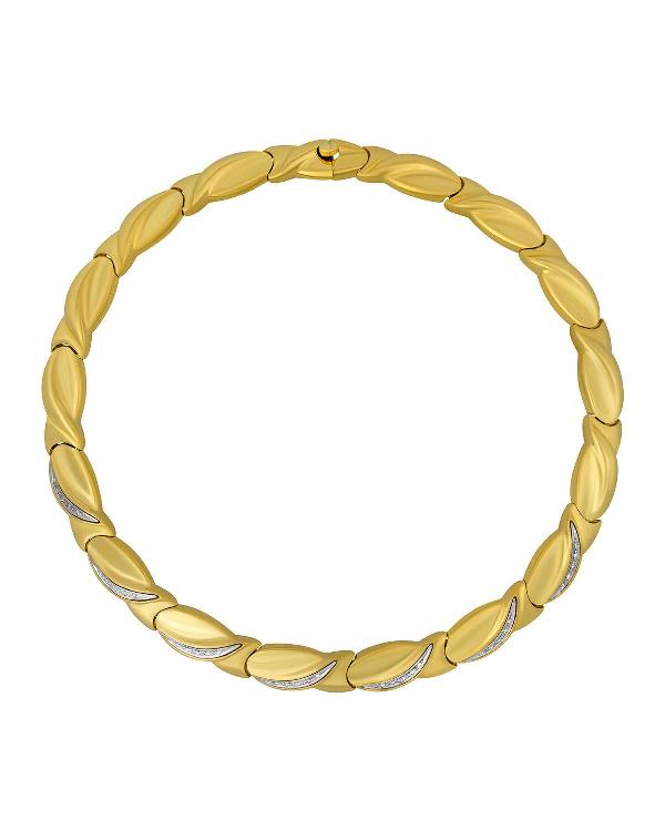Salvini 18k Curvy-link & Diamond Necklace In Clear