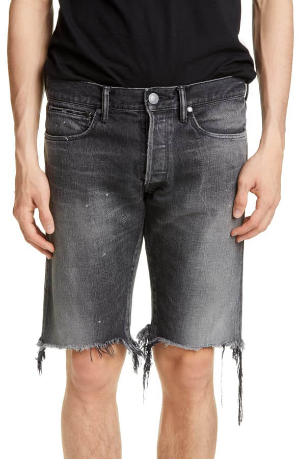 John Elliott The Cast 2 Relaxed Fit Cutoff Denim Shorts In Ride Black
