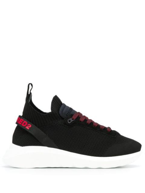 Dsquared2 Black Mesh & Leather Logo Sneaker In M002 Black/ Red