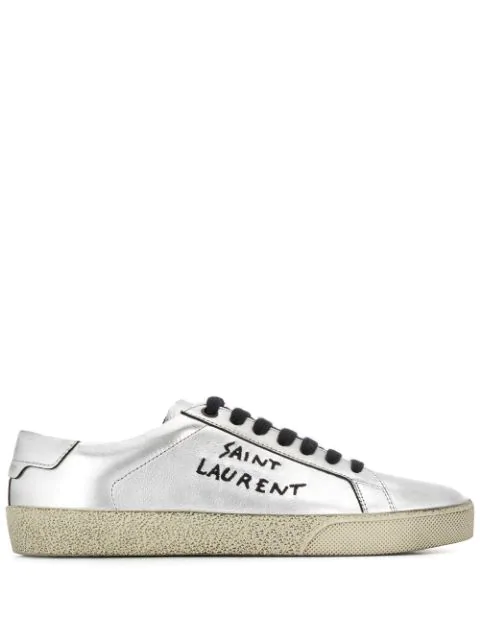 Saint Laurent Sneaker Low Court Classic Sl/06  Kalbsleder  Logo Stickerei Silber In 8163 Argent Noir