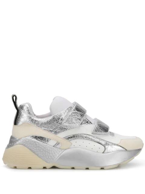 Stella Mccartney Eclypse Metallic Touch Fastening Sneakers In White In Silver