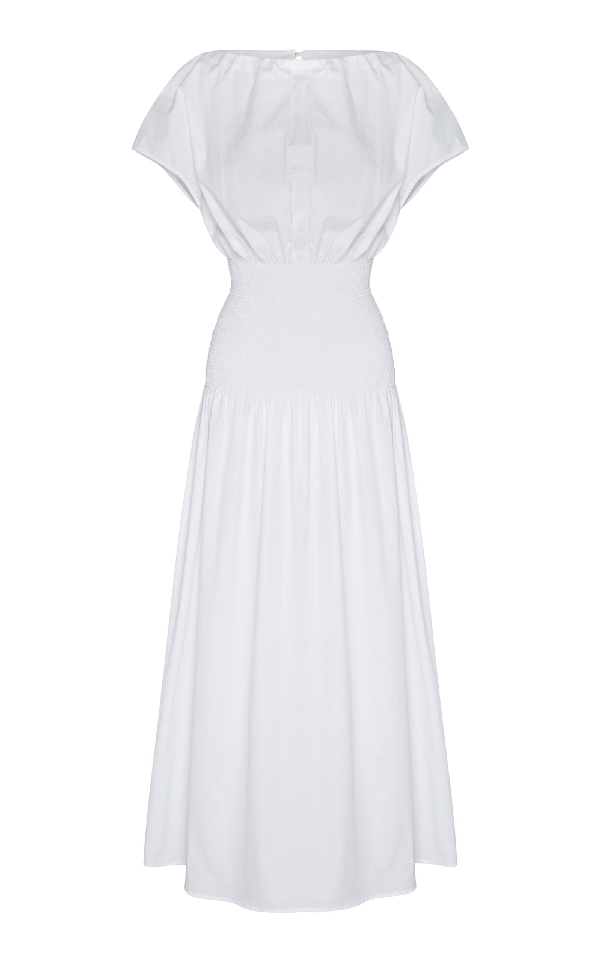 Anna Quan Emma-Kate Shirred Cotton-Poplin Midi Dress In White