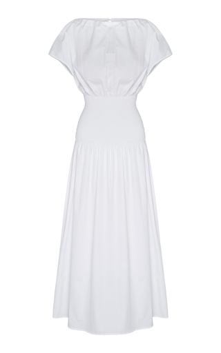 Anna Quan Emma-kate Shirred Cotton-poplin Midi Dress In White