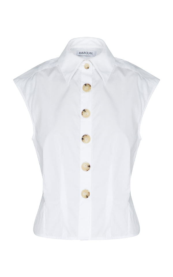 Anna Quan Peta Cotton-Poplin Top In White