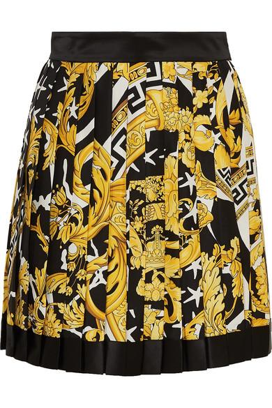 Versace Pleated Printed Silk-twill Mini Skirt In A7900 Multi