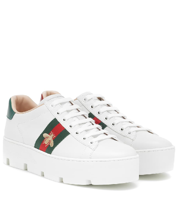 Gucci 'new Ace' Bee Embroidered Web Stripe Platform Leather Sneakers In White
