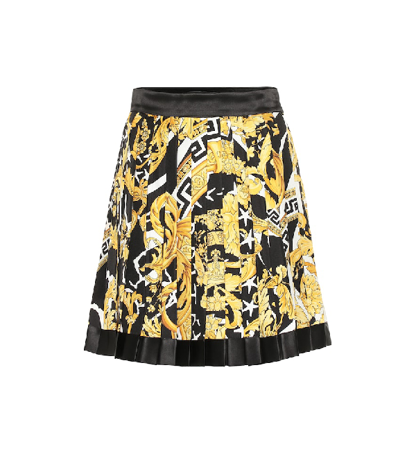 Versace Savage Baroque Silk Pleated Miniskirt In Black