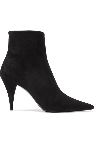 Saint Laurent Stiefeletten Kiki 85 Zip Bootie  Veloursleder Schwarz In Black