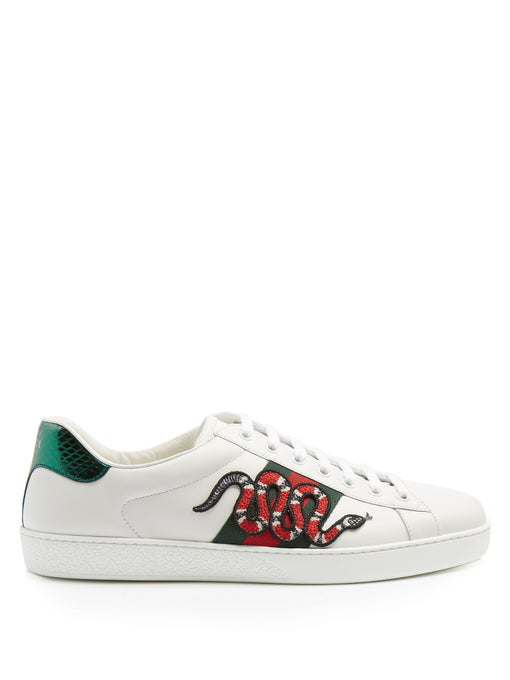 Gucci Men's Embellished Snake Leather Lace Up Sneakers Product Description In White