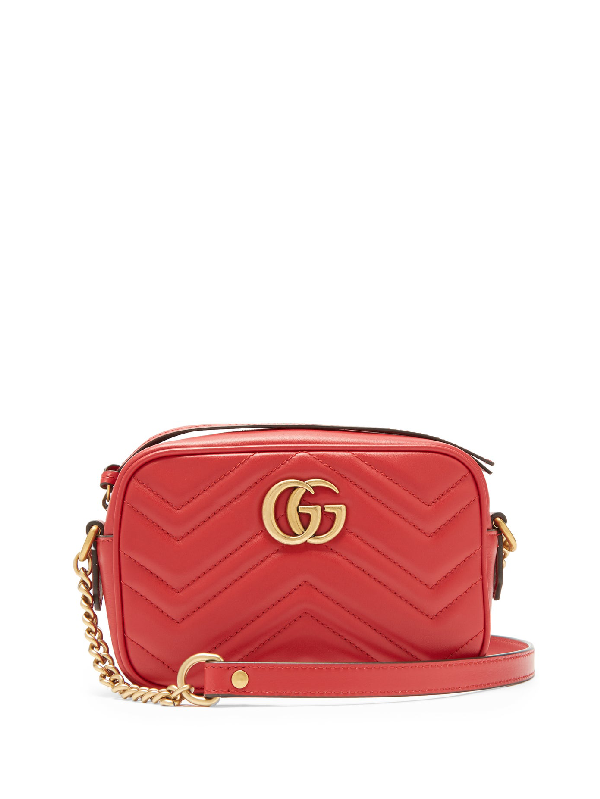 Gucci Gg Marmont Mini Quilted-leather Cross-body Bag In Red