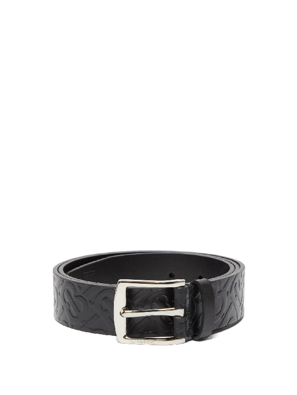 Burberry Men's Clarke Logo-embossed/smooth Leather Reversible Belt In Black