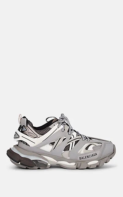 Balenciaga Track.2 Leather-Trimmed Nylon, Mesh And Rubber Sneakers In Gray