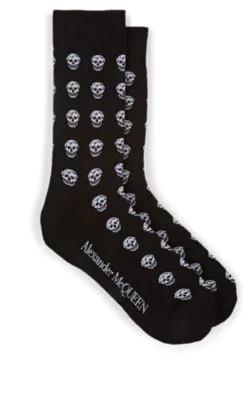 Alexander Mcqueen Skull-Knit Cotton-Blend Mid-Calf Socks In Black