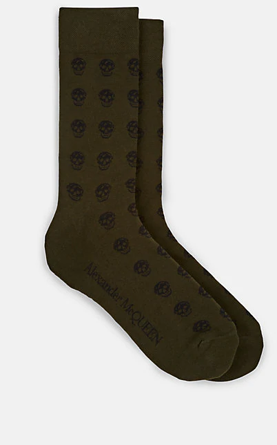 Alexander Mcqueen Skull-Knit Cotton-Blend Mid-Calf Socks In Dk. Green