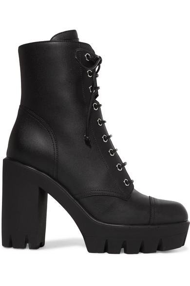 Giuseppe Zanotti Leather Platform Ankle Boots In Black