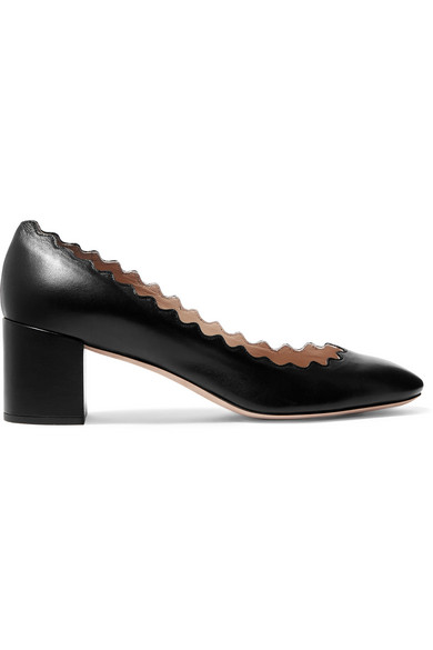 ChloÉ Women's Lauren Scalloped Block-heel Pumps In Black