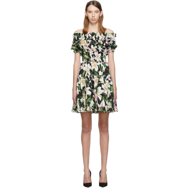 Dolce & Gabbana Off-the-shoulder Ruffled Floral-print Cotton-poplin Dress In Hnkk8 Black