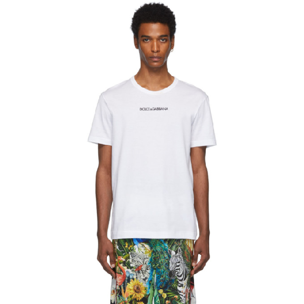 Dolce & Gabbana Cotton T-shirt With Dolce&gabbana Embroidery In Hwi43 White