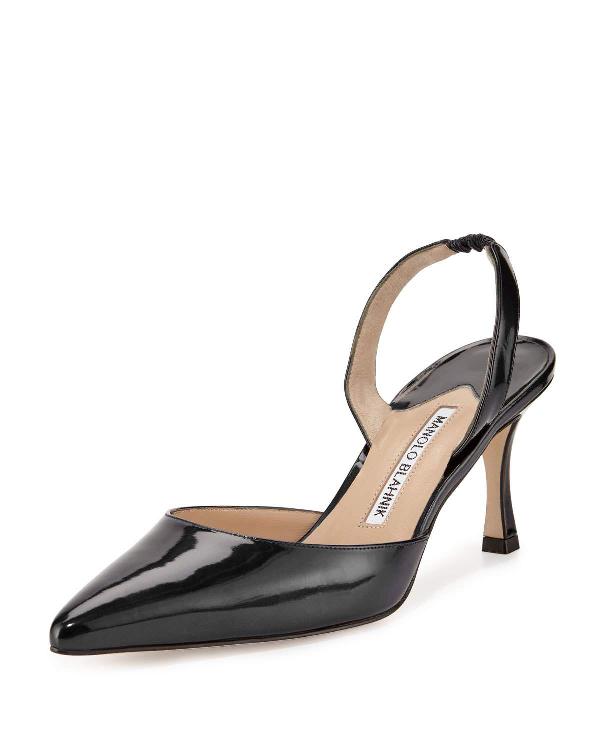 e60a4210d4ab8 Manolo Blahnik Carolyne Leather Mid-Heel 70Mm Halter Pumps In Black ...