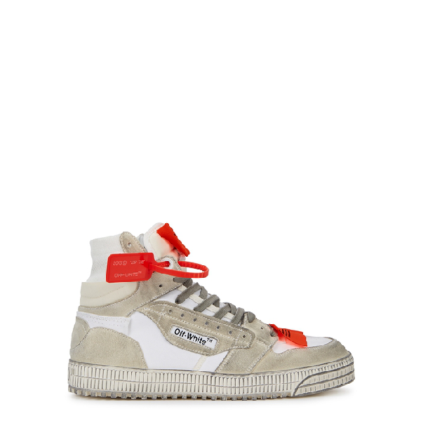 Off-white Off-court 3.0 Distressed Suede, Leather And Canvas High-top Sneakers In Light Grey