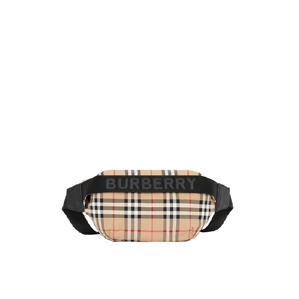 Burberry Medium Vintage Check And Icon Stripe Bum Bag In Archive Beige