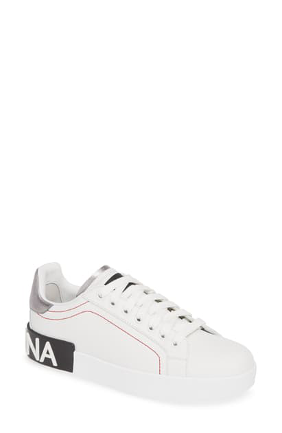 Dolce & Gabbana Portofino White Leather Sneakers With Embossed Logo