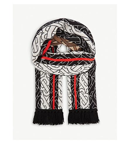 Burberry Monogram Stripe Cashmere Football Scarf In Brown