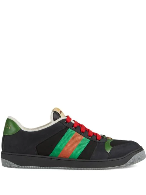 Gucci Screener Webbing-Trimmed Leather, Suede And Canvas Sneakers In 1098 Nero