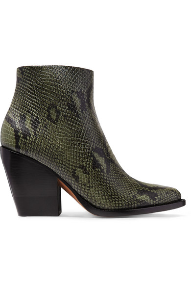 ChloÉ Rylee Snake-effect Leather Ankle Boots In Dark Green