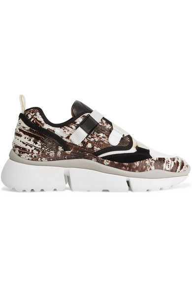 ChloÉ 'Sonnie' Chunky Outsole Low Top Lizard Embossed Patchwork Sneakers In Snake Print