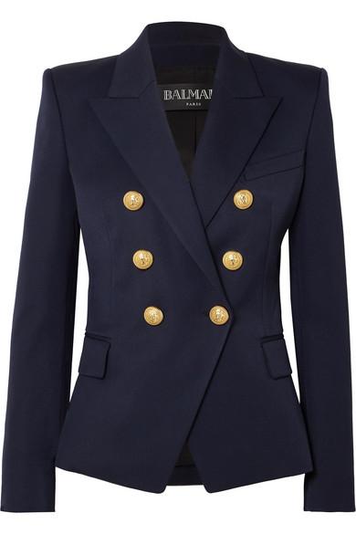 Balmain Double-Breasted Peak-Lapel Virgin-Wool Blazer In Navy