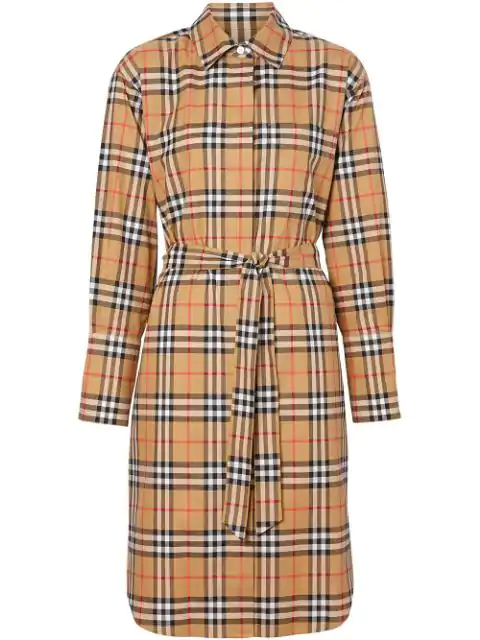 Burberry Isotto Vintage Check Cotton Tie-waist Shirt Dress In Brown