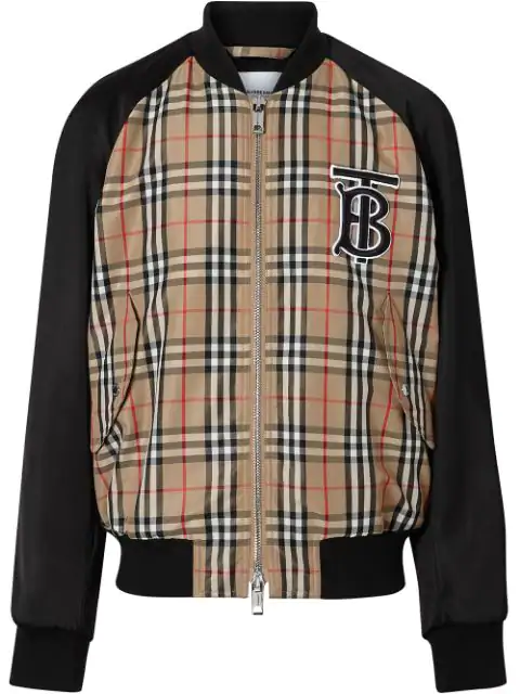 Burberry Monogram Motif Vintage Check Nylon Bomber Jacket In Yellow