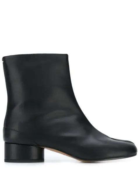 Maison Margiela Vintage Soft Leather Tabi Boots 3 Heel In Black