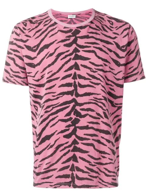 Saint Laurent T-shirt With Used-look Zebra Print In Pink