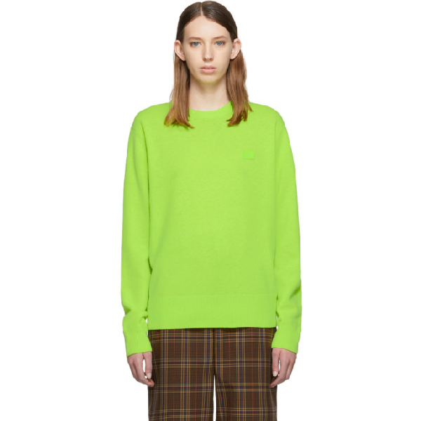 Acne Studios Nalon Face AppliquÉD Neon Wool Sweater In Abe-Lime Green