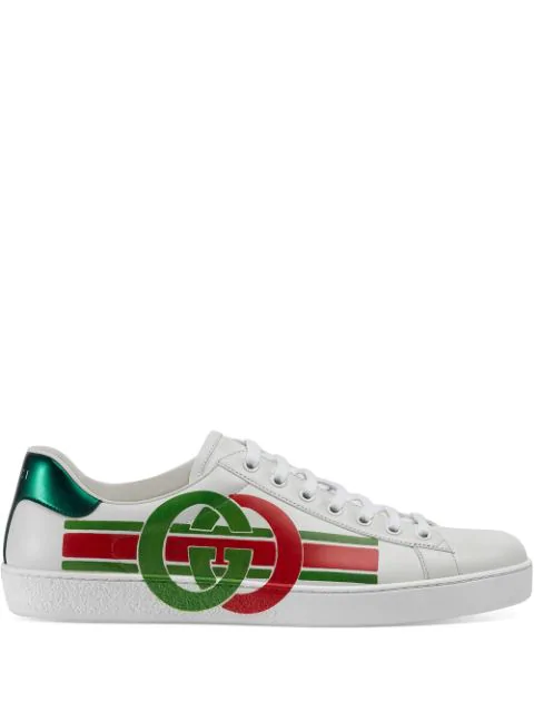 Gucci Low-top Sneakers Ace Nappa Leather Logo White-combo In White ,green