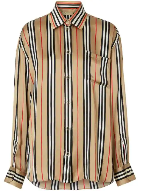 Burberry Vertical Check Printed Silk Twill Shirt In A7029 Archive Beige Ip S
