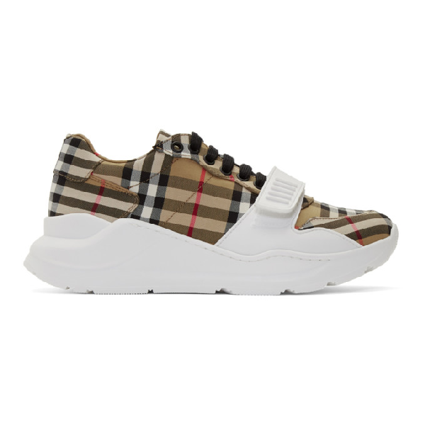 Burberry Men's Chunky Signature Check Trainer Sneakers With Grip Strap In White