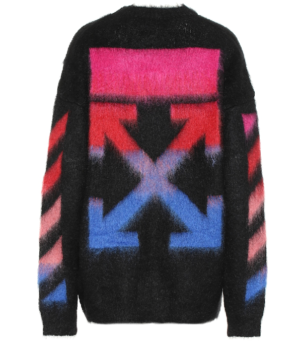 Off-White Black Logo-Intarsia Mohair-Blend Jumper