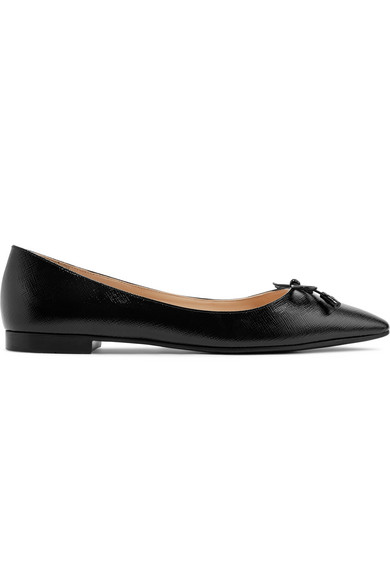 Prada Black Saffiano Leather Pointy Flat Shoes