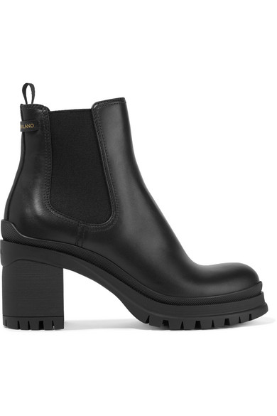 Prada Leather And Rubber Platform Ankle Boots  In Black