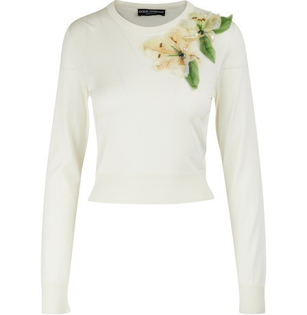 Dolce & Gabbana Long Sleeve Embroidered Floral Knit Pullover In Naturale White