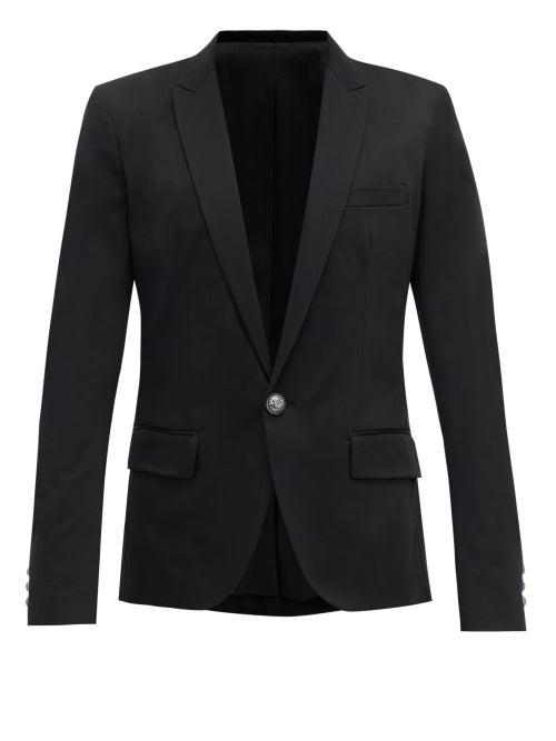 Balmain Single-Breasted Cotton-Blend Blazer In Black