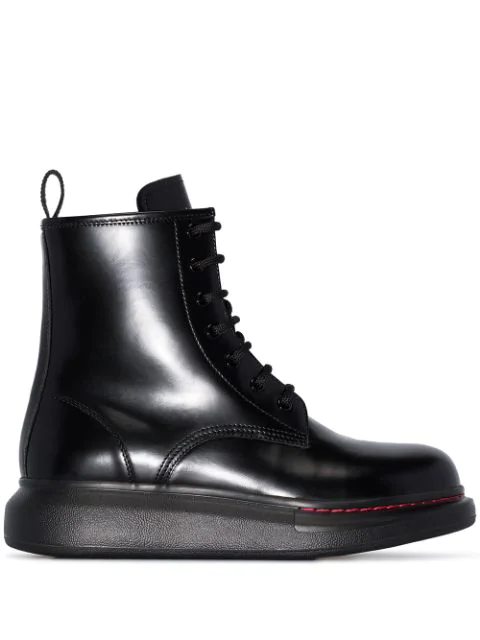 Alexander Mcqueen 'Oversized Combat Boot' In Leather In Black