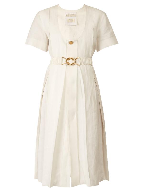 Bottega Veneta Belted Midi Pleated Dress In White