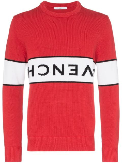 Givenchy Upside-down Logo Intarsia Jumper In Red