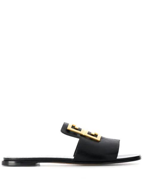 Givenchy Logo Plaque Slides - 黑色 In Black