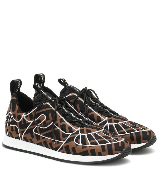 Fendi Ffreedom Patterned Low-top Sneakers In Brown ,black