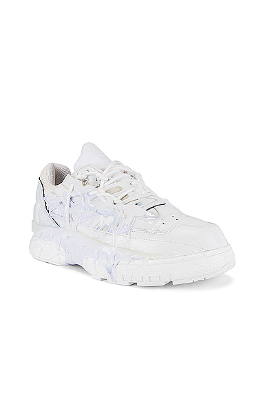 Maison Margiela Fusion Rubber-trimmed Distressed Leather Sneakers In White